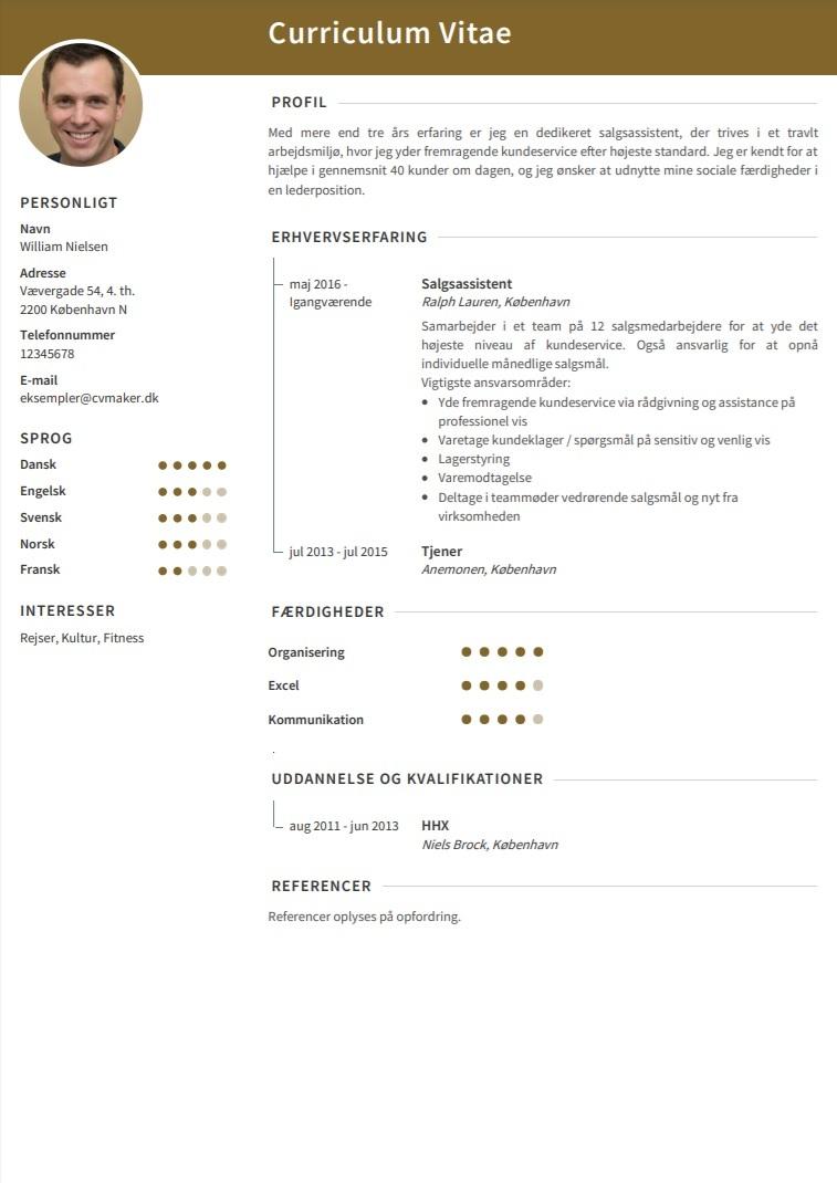 CV eksempel butik