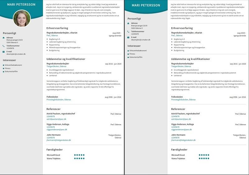 CV-skabelon tilpasser sig automatisk